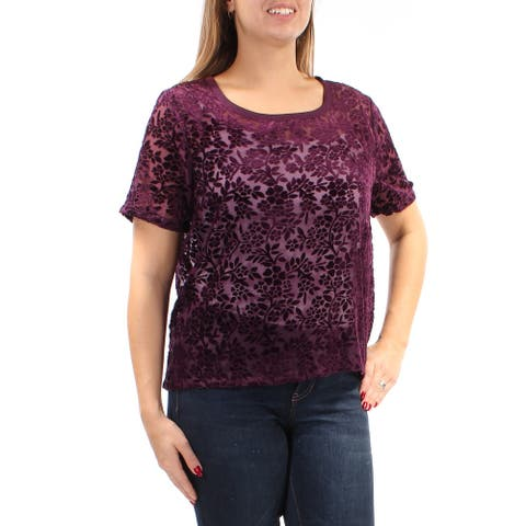 LUCKY BRAND Womens Purple Floral Short Sleeve Jewel Neck Top Size M