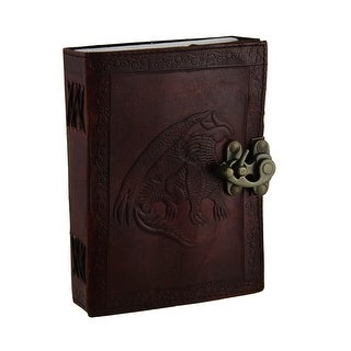 Leather Bound Dragon Journal with Brass Clasp 120 Pages - brown