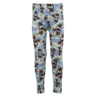 Kids Stretchy Leggings Bottom Trousers blue green tree