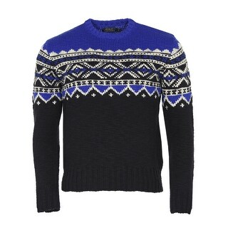 Polo Ralph Lauren RL Nordic Print Crewneck Sweater XX-Large Black and Blue - 2XL