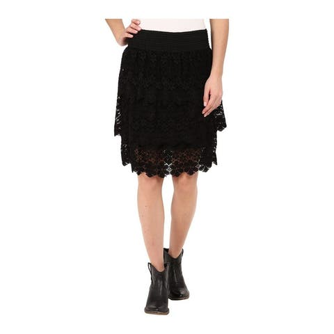 Stetson Western Skirt Womens Tiered Flirty Black