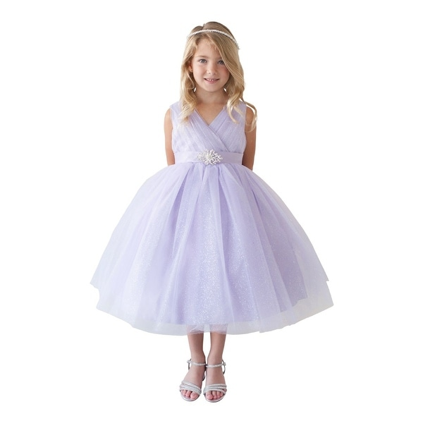 9451eaff2 Shop Girls Lilac Glitter Tulle Rhinestone Brooch Junior Bridesmaid Dress - Free  Shipping On Orders Over $45 - Overstock - 18173606