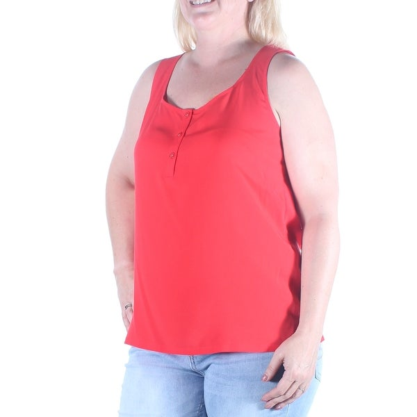 ANNE KLEIN Womens Red Sleeveless Scoop Neck Top Size: L