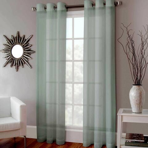"2 Faux Silk Drape Grommet Window Curtains Sage Green 52"" x 84"""