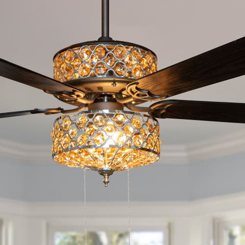 "Copper Grove Krrabe 52-inch Crystal and Chrome Beaded Ceiling Fan - 52""L x 52""W x 20.25 - 52""L x 52""W x 20.25"