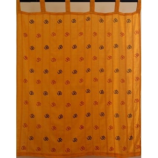 Ribbed Cotton Om Print Yoga Room Meditation Window Curtain Drape Valence - 50 x 60 inches