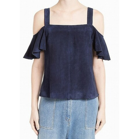 Robert Rodriguez Womens Leather Cold Shoulder Blouse