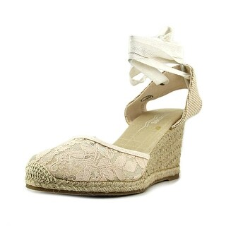 Soludos Tall Wedge Women Open Toe Canvas Ivory Wedge Heel