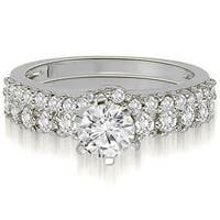 1.65 cttw. 14K White Gold Classic Basket Round Cut Diamond Bridal Set