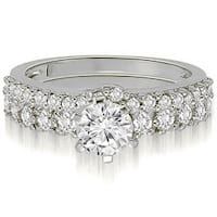 1.65 cttw. 14K White Gold Classic Basket Round Cut Diamond Bridal Set