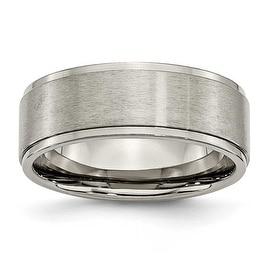 Chisel Ridged Edge Brushed and Polished Titanium Ring (8.0 mm)