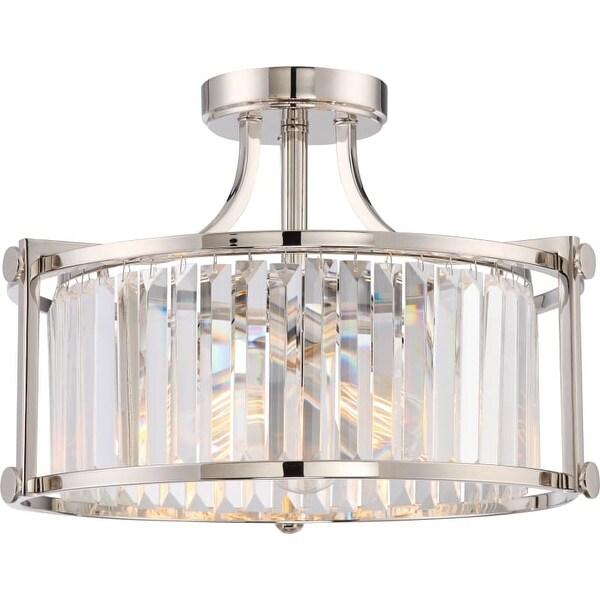 "Nuvo Lighting 60/5763 Krys 3 Light 17-3/4"" Wide Semi-Flush Drum Ceiling Fixture"
