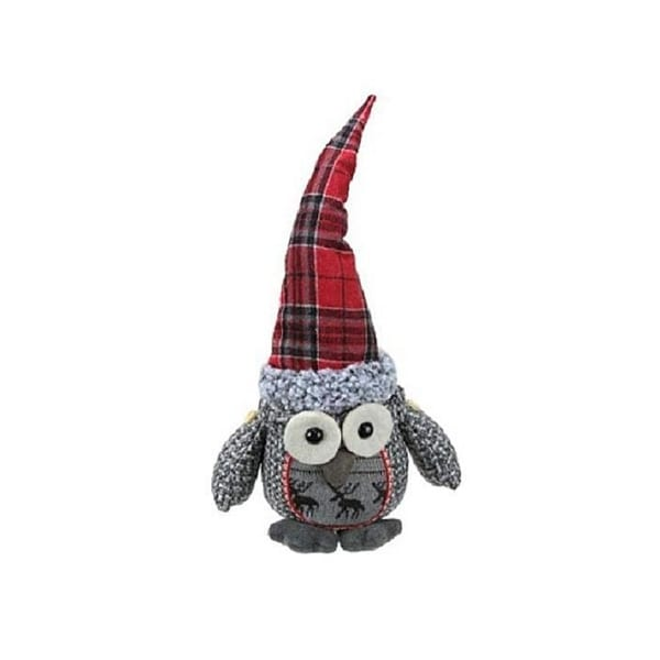 "16.75"" Gray Basket Weave and Red Plaid Sitting Owl Decorative Christmas Tabletop Figure"