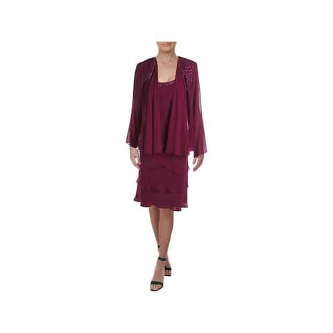 SLNY Purple Long Sleeve Midi Sheath Dress Size 12