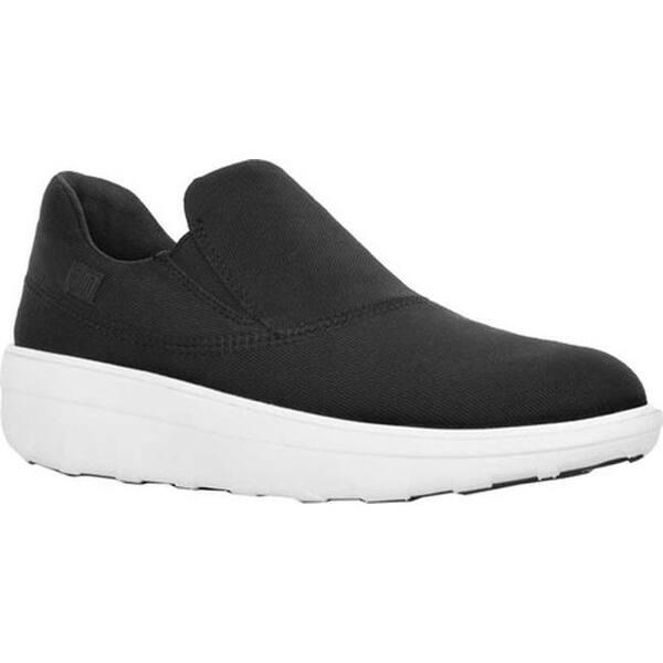 2a9cf6d04b5a96 FitFlop Women s Loaff Sporty Slip-On Sneaker Black Textile Urban White