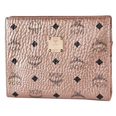 MCM Champagne Gold Visetos Canvas Small Zip Top Pouch Clutch Purse