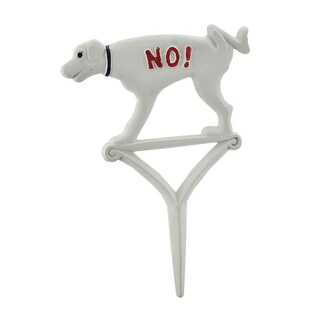Hand Painted Cast Iron NO! Dogs Allowed Yard Stake - Off-white
