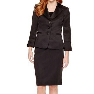 Le Suit NEW Black Women's Size 18 Plus 3-Button Sateen Skirt Suit Set
