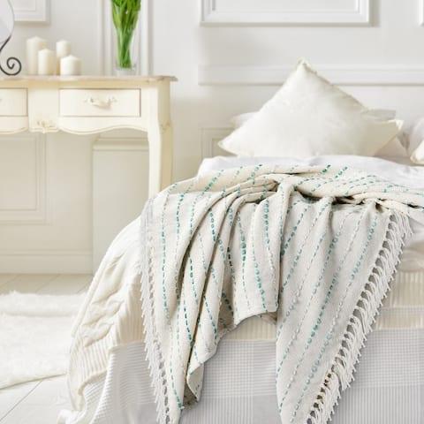 Teal Shimmer Stripe Woven Throw Blanket with Fringe