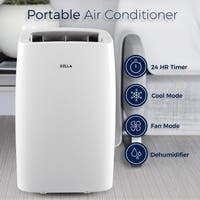 DELLA 14,000 BTU Portable Air Conditioner Cooling Fan Dehumidifier Digital Display Remote Control Window Vent Kit White