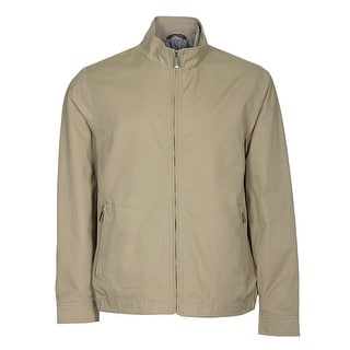 Tasso Elba Full Zip Windbreaker Jacket Washed Khaki Large L