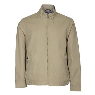 Tasso Elba Full Zip Windbreaker Jacket Washed Khaki Large L