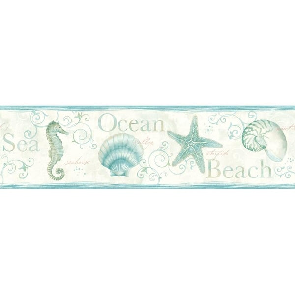 Brewster DLR53562B Island Bay Teal Seashells Border Wallpaper - N/A