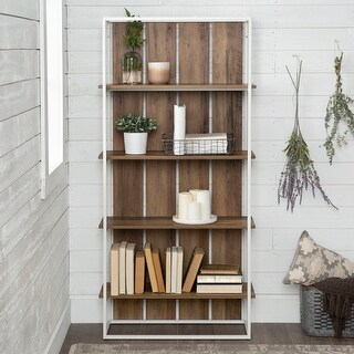 Link to The Gray Barn Barnett Slat Back Bookshelf - White / Reclaimed Barnwood Similar Items in Bookshelves & Bookcases