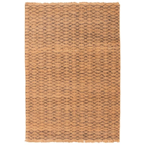 ECARPETGALLERY Flat-weave Palas Denizli Brown Jute Kilim - 5'8 x 7'7