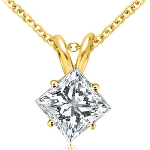 0.35 cttw. 14K Yellow Gold Princess Cut Diamond 4-Prong Basket Solitaire Pendant