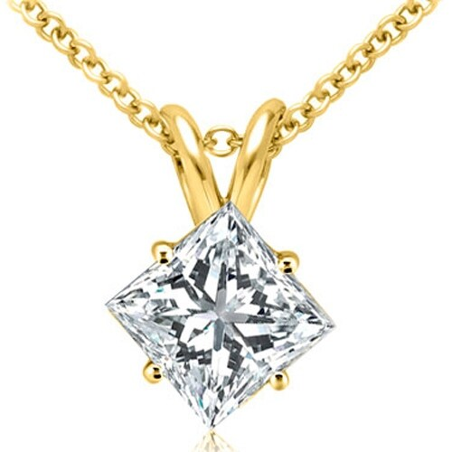 0.50 cttw. 14K Yellow Gold Princess Cut Diamond 4-Prong Basket Solitaire Pendant - White H-I