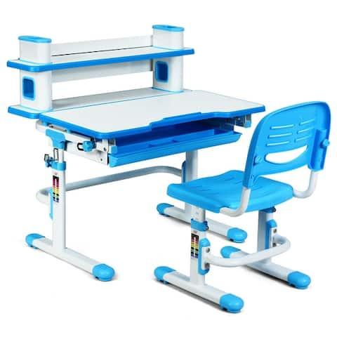 Adjustable Kids Desk and Chair Set with Bookshelf and Tilted Desktop