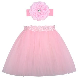 Cute Fuchsia Dance Tutu Skirt Flower Headband Set Ages 3-8 - One size