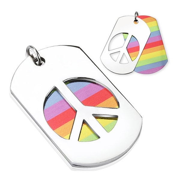 Horizontal Rainbow and Carved Out Peace Sign Stainless Steel Double Dogtag  (28 mm Width)