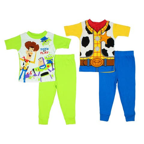Disney Toy Story Toddler Boys' Woody And Toys At Play 4 Piece Cotton Short Sleeve And Pants Pajama Set