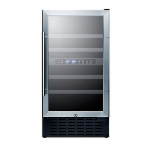 Summit SWC182ZCSS 18 Inch Wide 28 Bottle Capacity Built-In Wine Cooler with Stai - glass / stainless steel - N/A