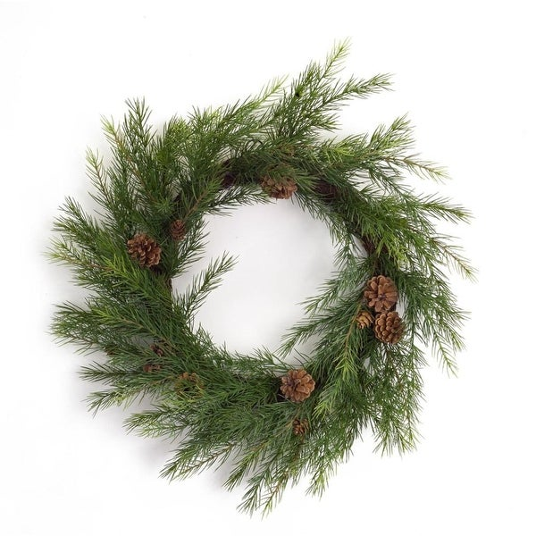 """Pack of 2 Long Needle with Pine Cone Artificial Christmas Decorative Pine Wreath 22"""""""