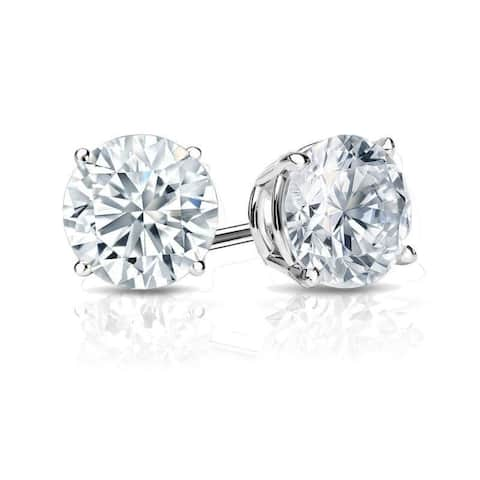 Auriya 18k Gold Round Diamond Stud Earrings 3 1/4ctw Certified