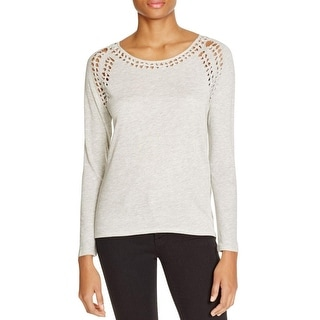 Generation Love Womens Pullover Top Solid Lace-Trim
