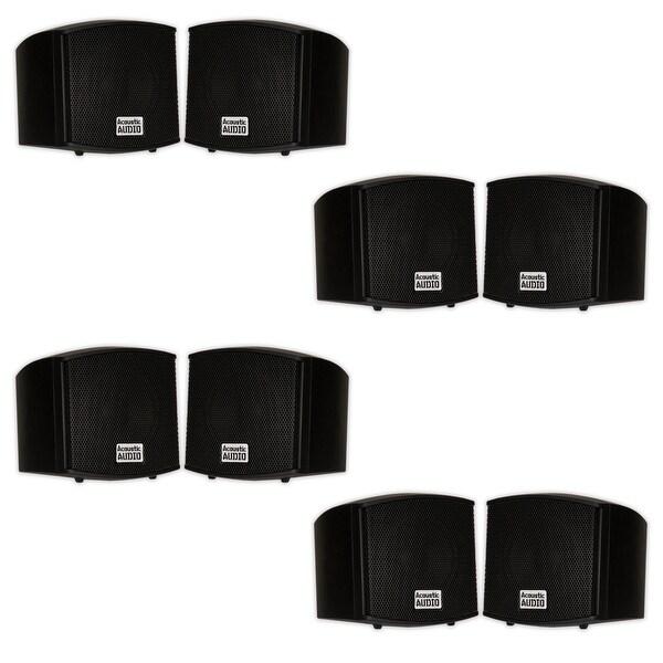 Acoustic Audio AA321B Indoor Mount Black Speakers 1600W 4 Pair Pack AA321B-4Pr