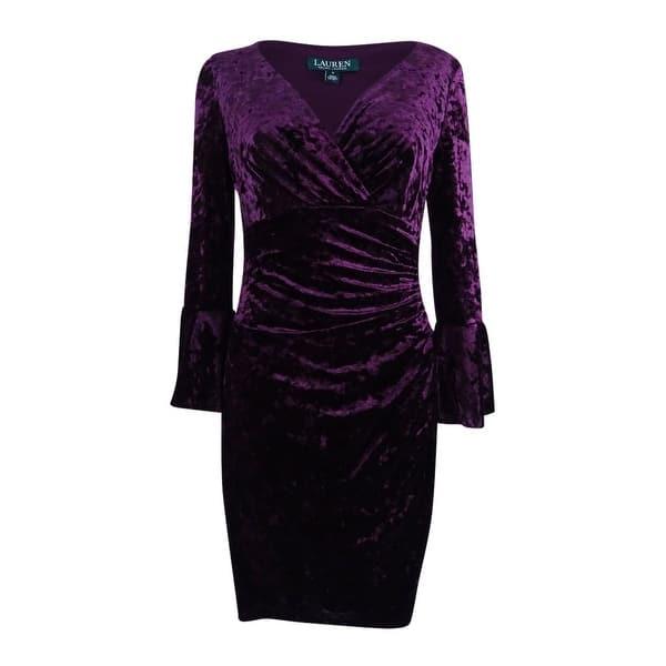 Lauren by Ralph Lauren Women\'s Plus Size Bell-Sleeve Velvet Dress - Maroon