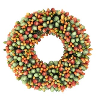"6.5"" Green and Orange Fall Autumn/Thanksgiving Berry Candle Ring - N/A"