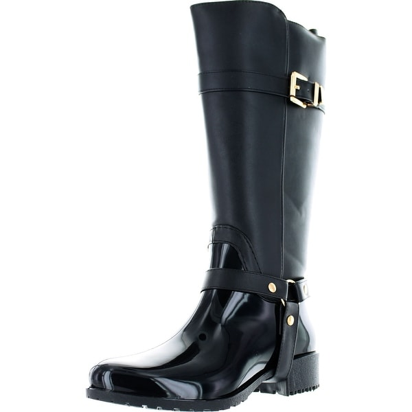 Bumper Katya04 Women's Two Tone Buckle Knee High Rain Riding Boots - Brown