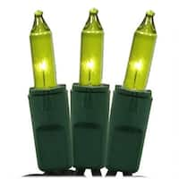 Chartreuse Green Perm-O-Snap Mini Christmas Lights - Green Wire