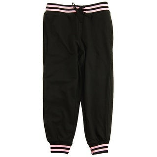 Star Ride Little Girls' Solid Side Pocket Knit Jogger Pants with Stripes and Bow