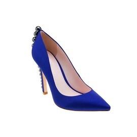Eleanor Anukam Blue Satin Stiletto Pumps