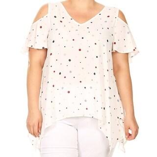Women Plus Size Polka Dot Cold Shoulder Tunic Knit Top Tee Shirt White