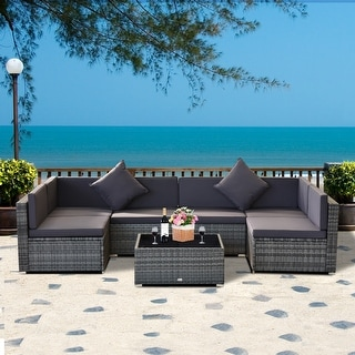 Link to Siara 7-piece Rattan Wicker Sectional Patio Set by Havenside Home Similar Items in Patio Furniture
