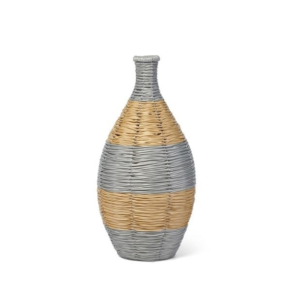 """20"""" Gold and Gray Woven Vase - N/A"""