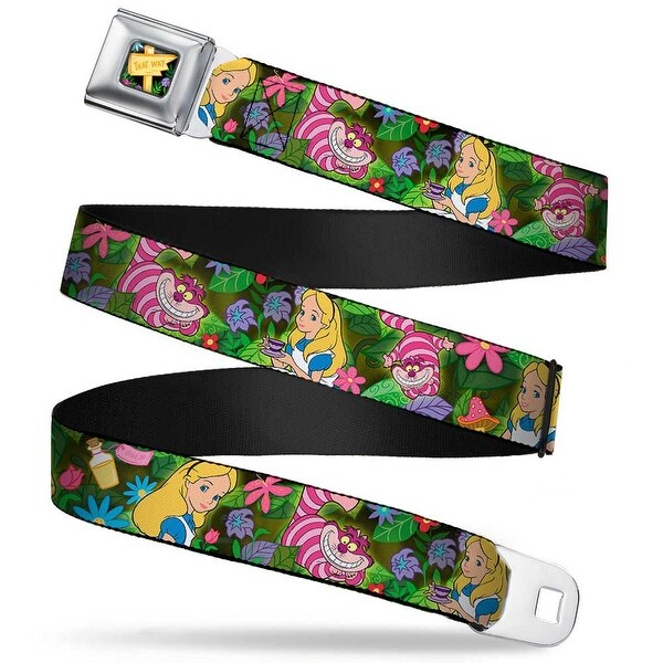 Alice In Wonderland This Way Sign Flowers Full Color Alice & Cheshire Cat Seatbelt Belt